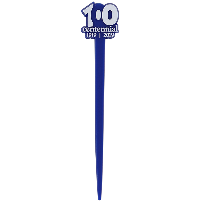 "Blue pick with the words ""100 centennial 1919-2019"""