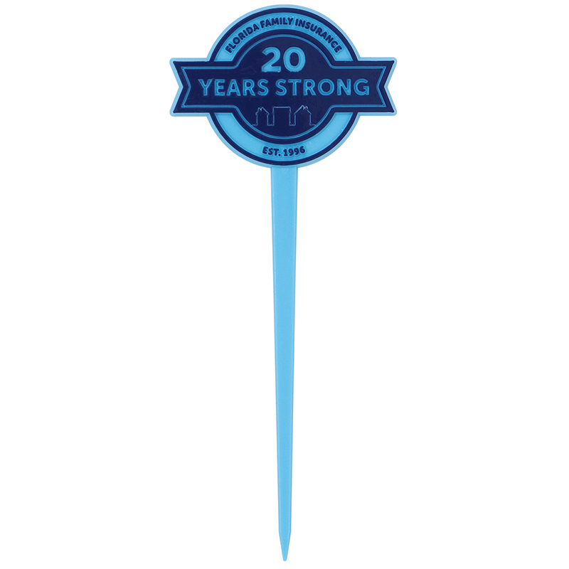 "Blue circle with ribbon shaped pick with the words ""Florida Family Insurance - 20 years strong"""