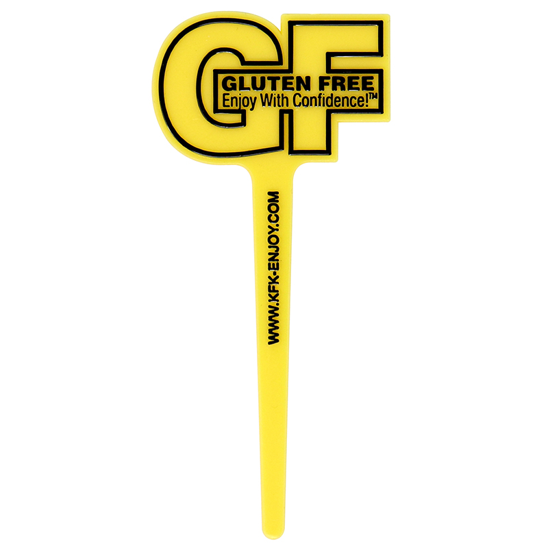 "Yellow GF shaped pick with the words ""Gluten Free - Enjoy with Confidence"""
