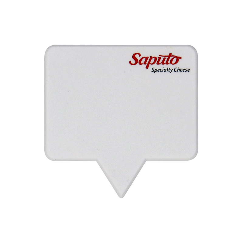 "White large rectangle shaped pick with the words ""Saputo - Specialty cheese"""