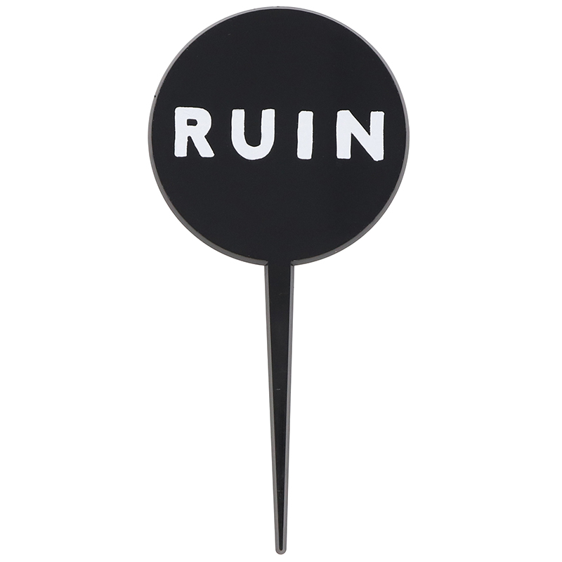 "Short black pick with large round head and the words ""Ruin"""