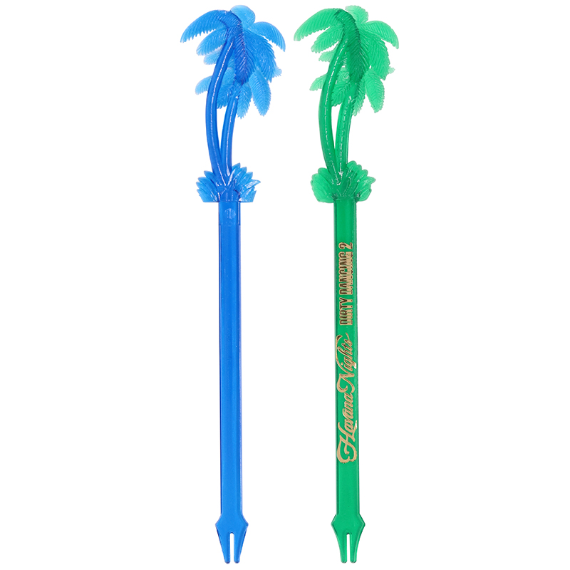 1 blue and 1 green palm tree shaped stir stick