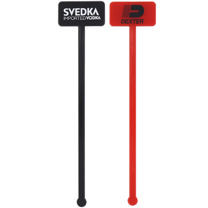 1 black and 1 red rectangle head stir stick with ball end