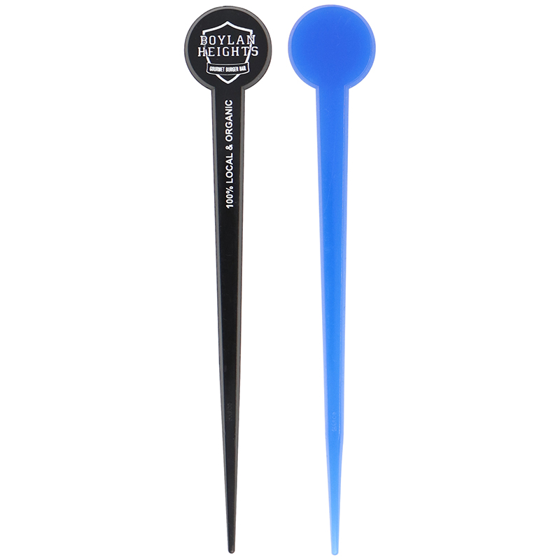 1 black and 1 blue Round Head stir stick with Pick end