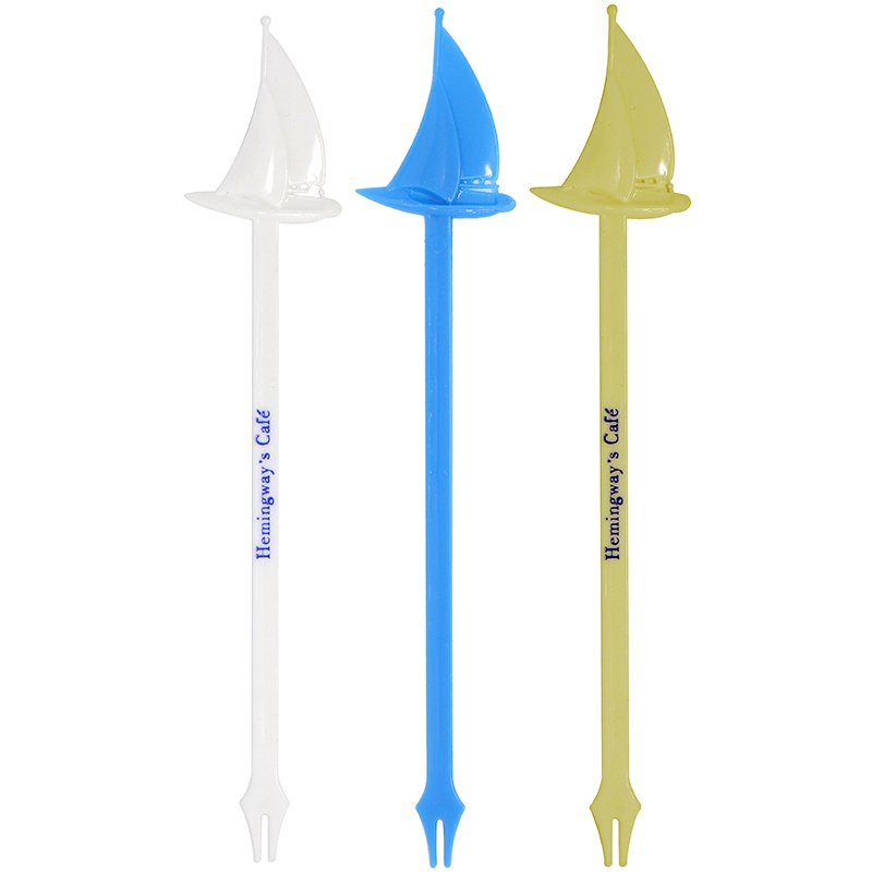 1 white, 1 blue and 1 gold sailboat shaped stir stick