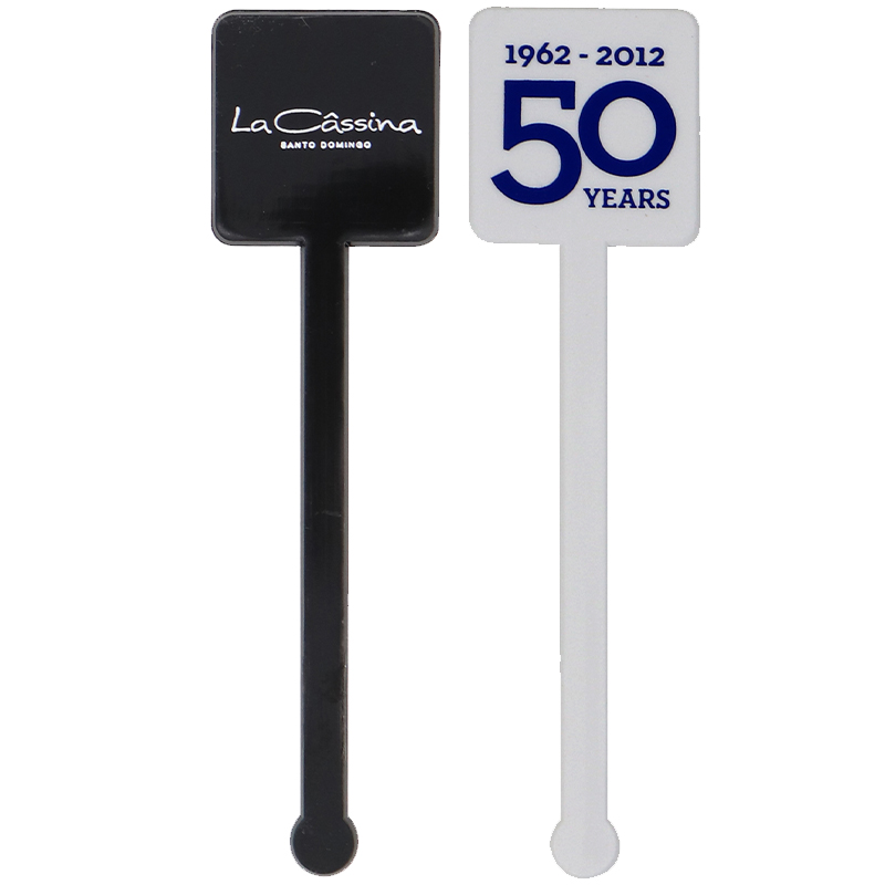 1 black and 1 white short square head stir sticks with ball ends