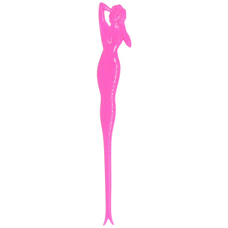 Pink Mermaid shaped stir stick