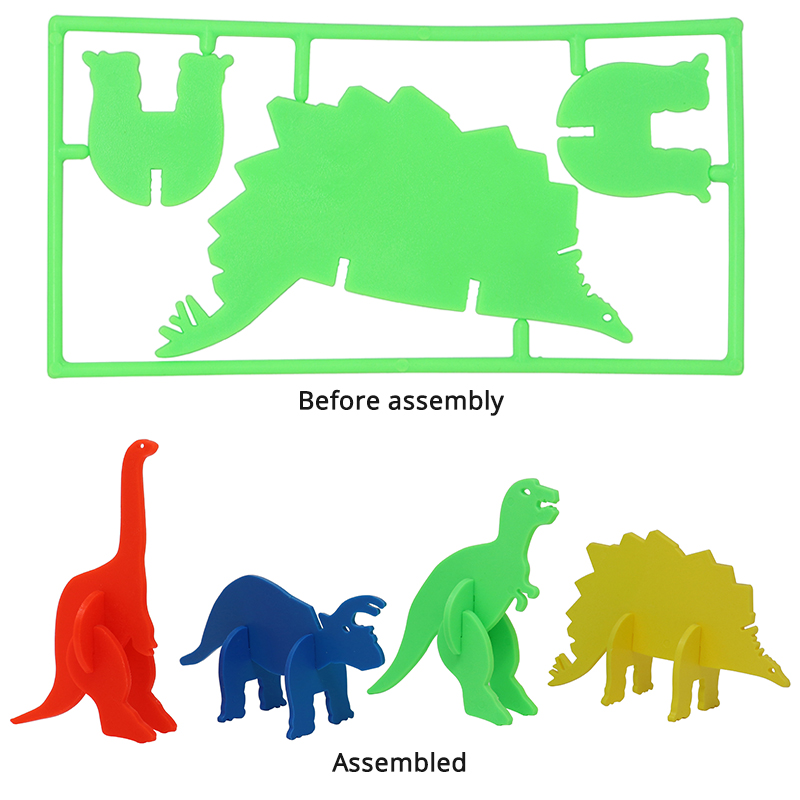 4 3D puzzles. 1 red dino, 1 blue dino, 1 green dino, 1 yellow dino