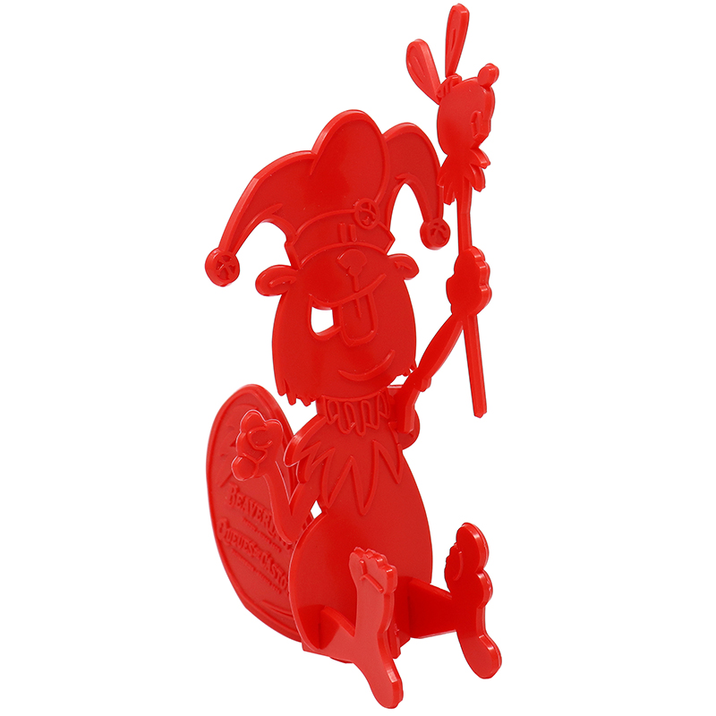 Red 3D puzzle shaped liked beaver with a crown