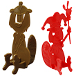 1 brown beaver shaped 3D puzzle and 1 red beaver with a crown shaped 3D puzzle