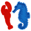 Red lobster and blue seahorse shaped cookie cutters