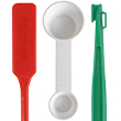 1 red lobster fork, 1 white two sided measuring spoon and 1 green Citrus Peeler