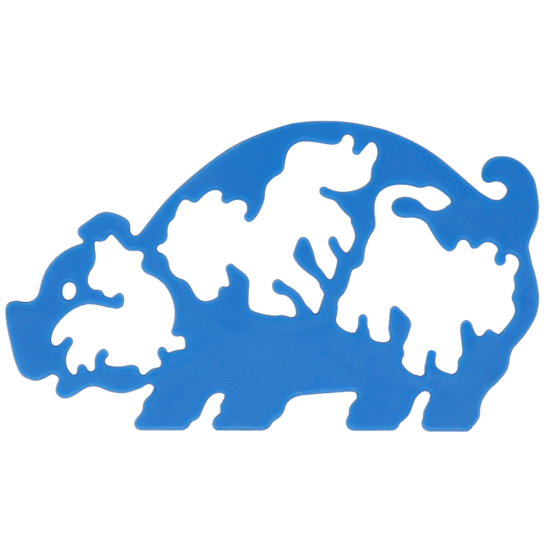 Blue plastic pig stencil