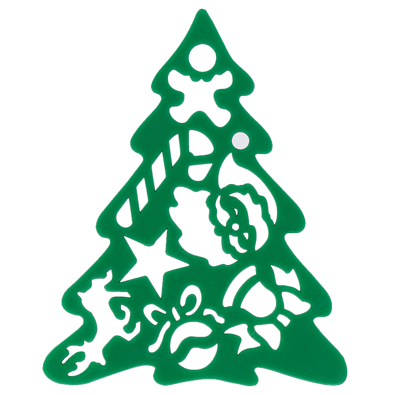 Green plastic tree stencil
