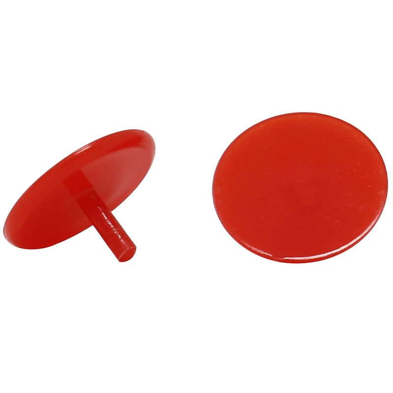2 red plastic golf ball markers