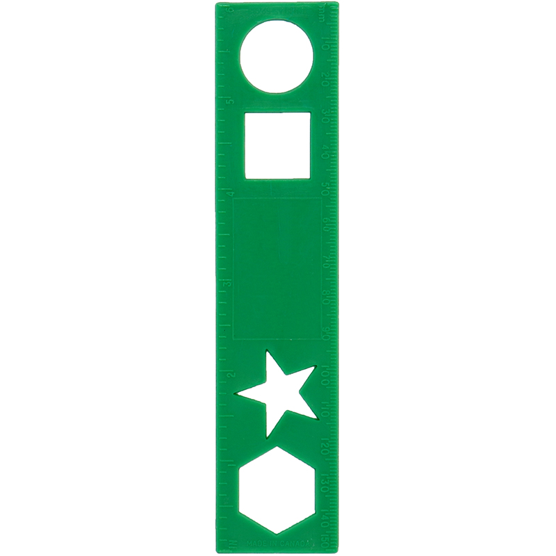 Green plastic ruler with shapes in ruler