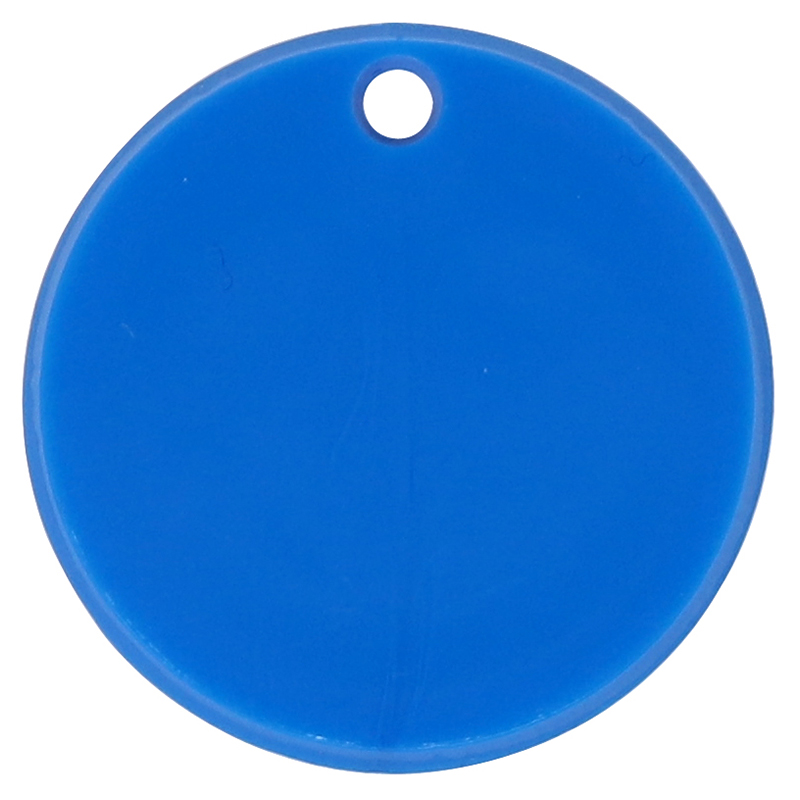 Plastic blue circle token with keychain hole