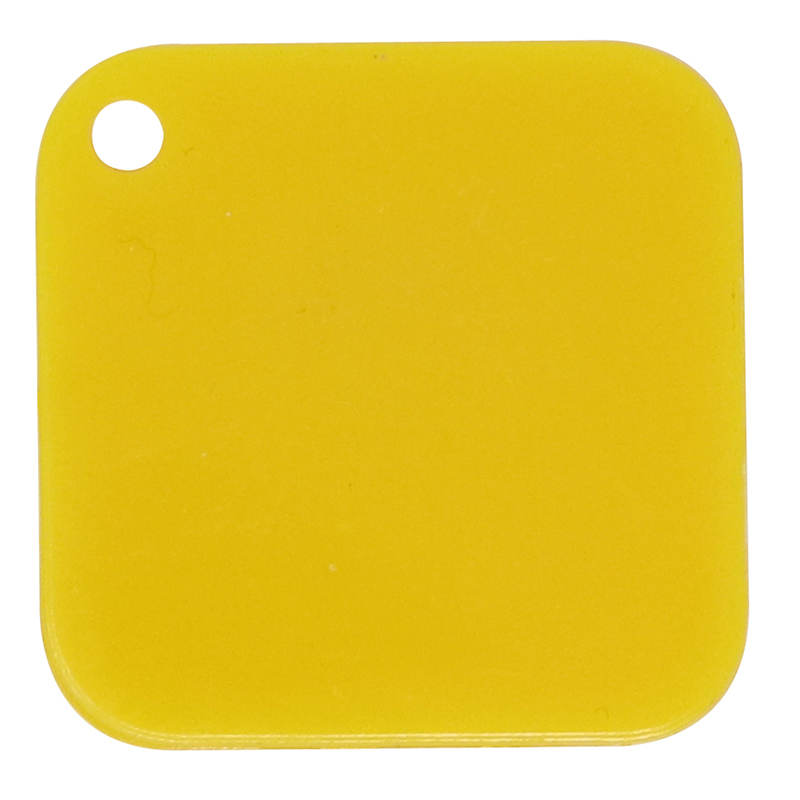 Plastic yellow square token with rounded corner