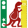 1 green ruler, 1 dino shaped bookmark and 1 yellow ruler