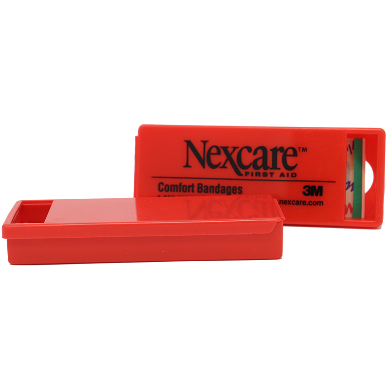 Red plastic bandage container with logo