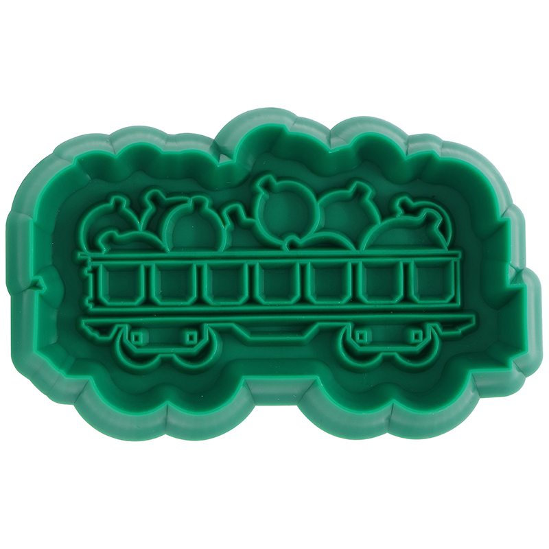 Green train shaped cookie cutter