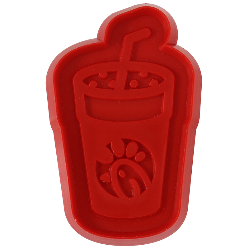 Red cup with straw shaped cookie cutter