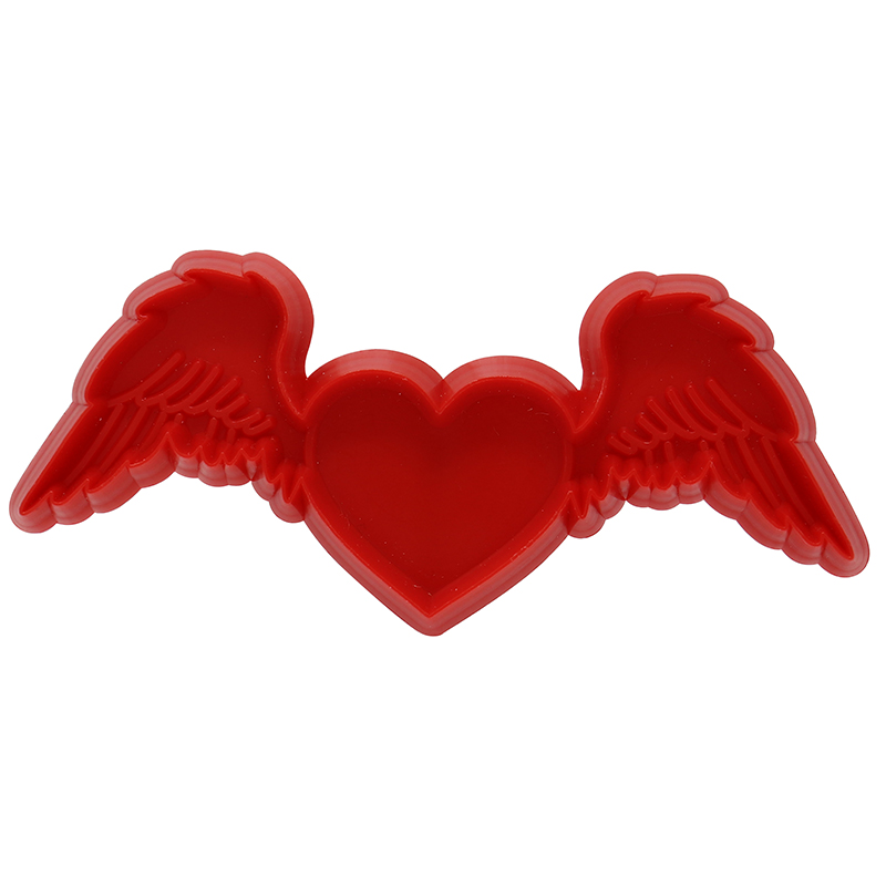 Red heart with wings shaped cookie cutter