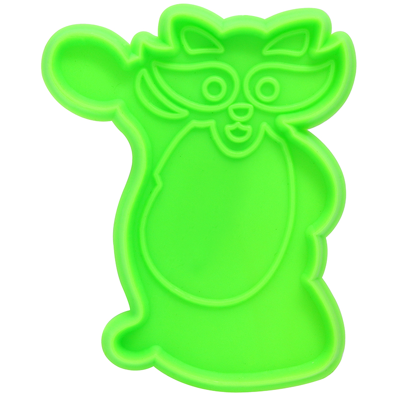 Green raccoon shaped cookie cutter