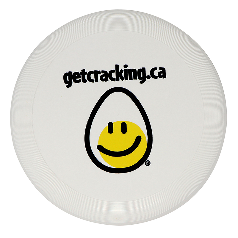 """Plastic white flying disc with an image of an egg and the words """"getcracking.ca"""""""