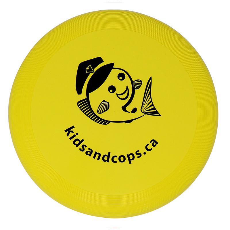 """Plastic yellow flying disc with the words """"kidsandcops.ca"""""""