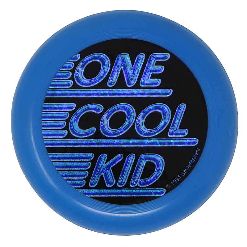 """Plastic blue flying disc with the words """"One Cool Kid"""""""