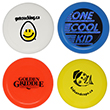 1 white flying disc, 1 blue flying disc, 1 orange flying disc and 1 yellow flying disc