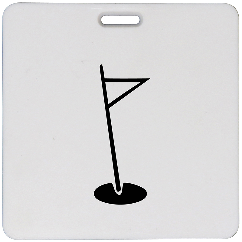 Square plastic white bag tag with a golf flag image in the middle