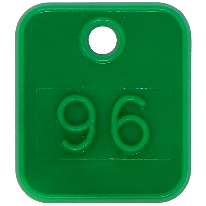 Plastic green square token with keychain hole and the number 96 imprinted in the middle