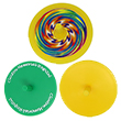 1 rainbow spin top, 1 green spin top and 1 yellow spin top