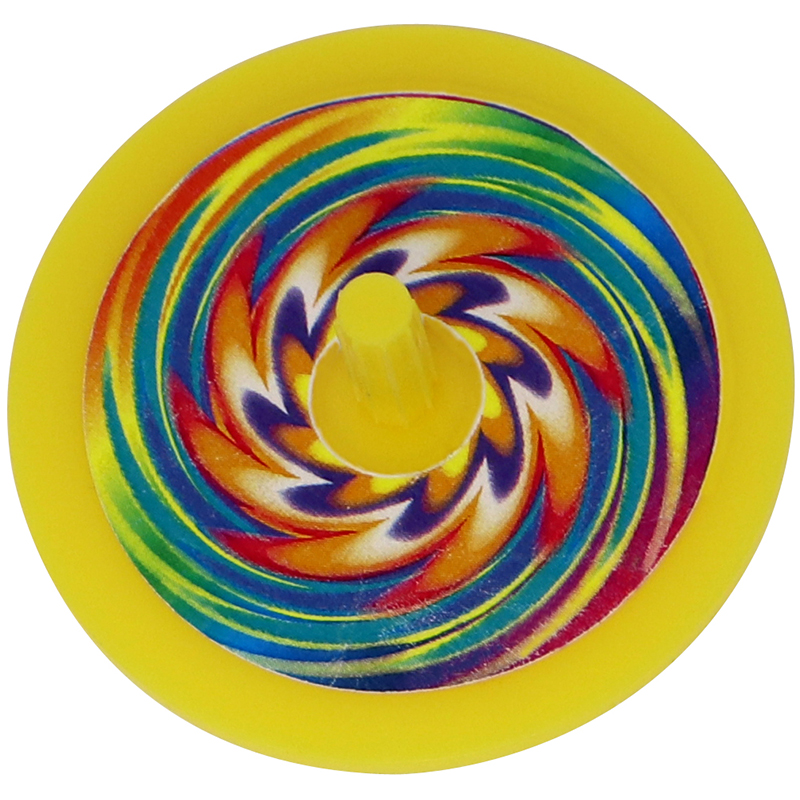 Plastic yellow spin top with rainbow sticker in the middle