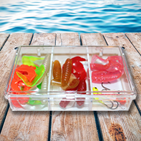 Custom Plastic Containers - Filled with fishing tackle