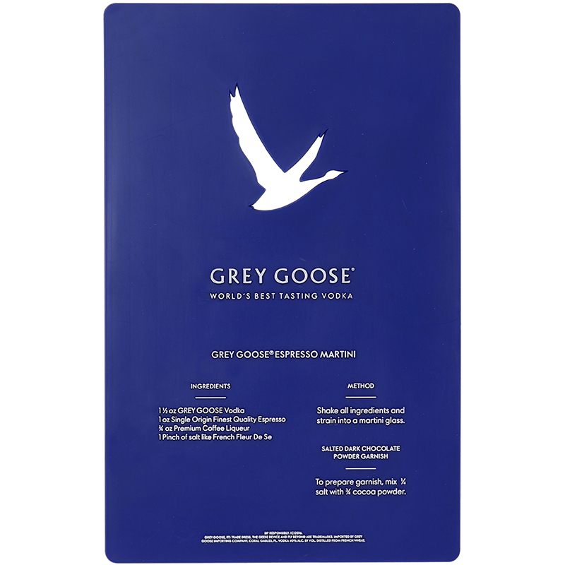 Blue rectangle Plastic Stencil with Grey Goose logo