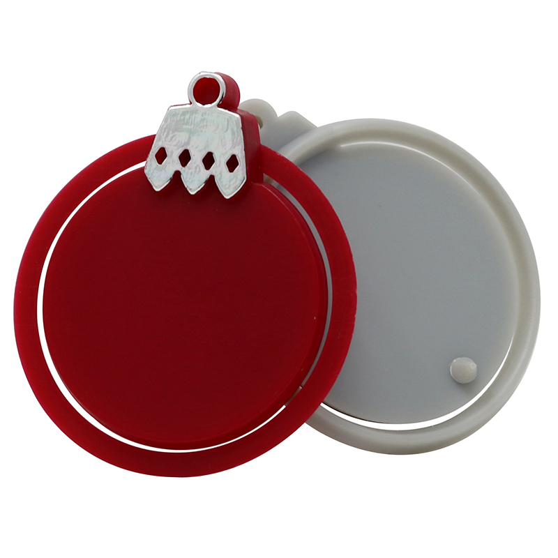 Red and white plastic ornament clips