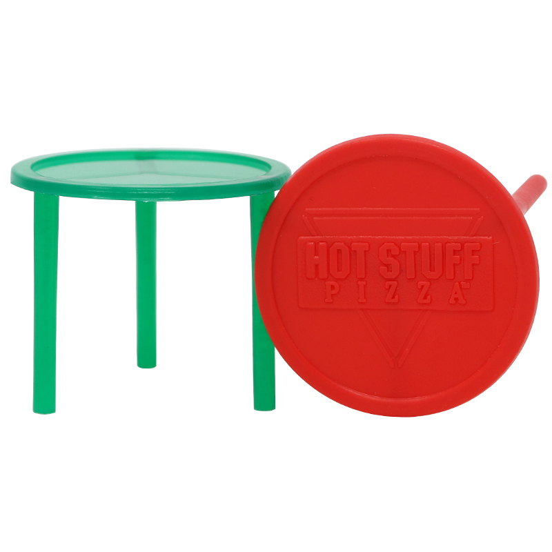 1 green plastic pizza topper and 1 red plastic pizza topper