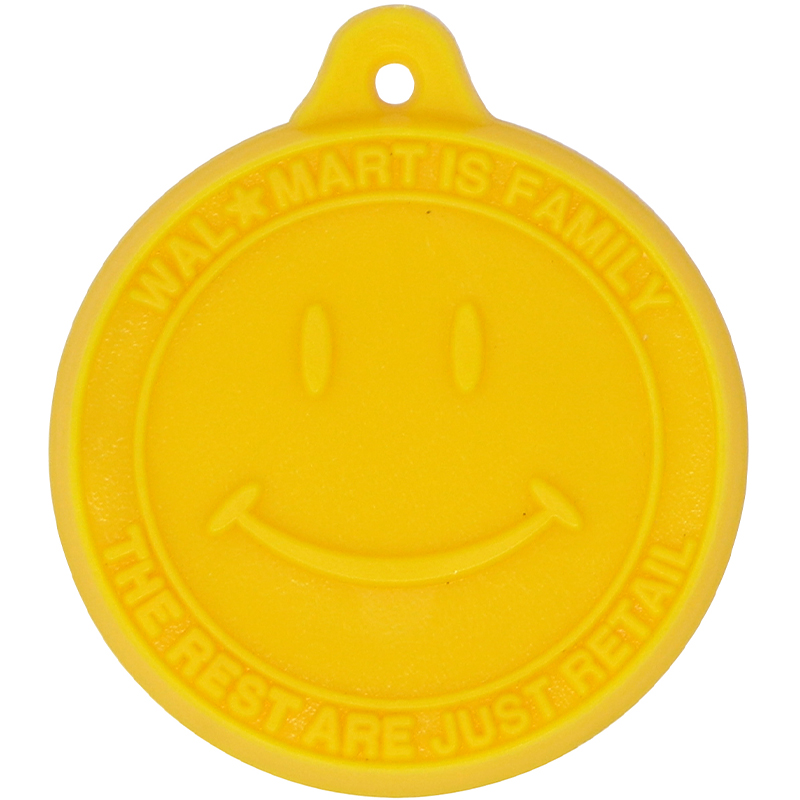 Yellow circle shaped Walmart key tag