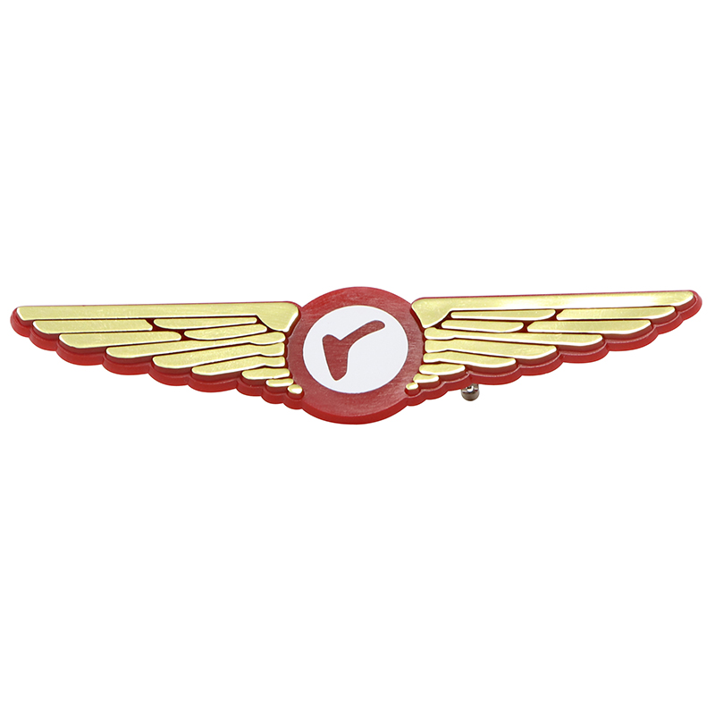 Red and gold plastic pilots wingpin