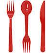 1 red fork, 1 red spork and 1 red knife