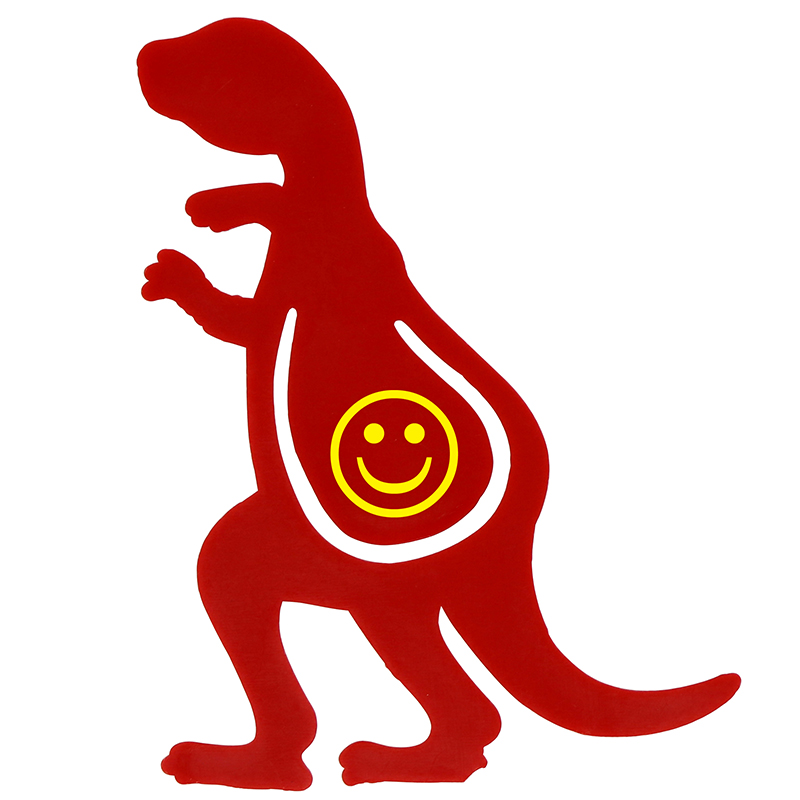 Red plastic dino shaped bookmark with smiley face in the middle