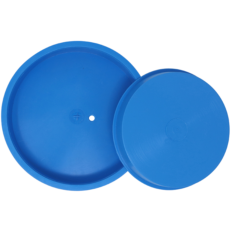 2 Blue Plastic Industrial Caps