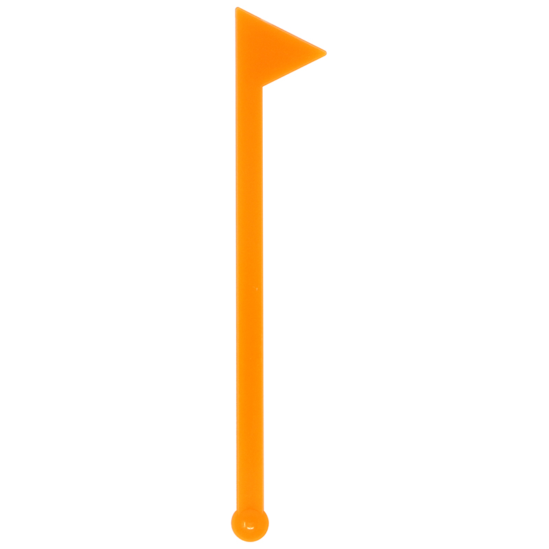 Orange flag shaped stir stick with ball end